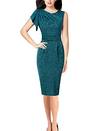 VFSHOW Womens Celebrity Teal Green Elegant Ruched Ruffle Cocktail Party Bodycon Sheath Dress 2883 GRN S (Dress Pencil Detail)
