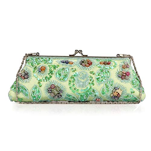 Clutch Embroidery Bags Party Bag Shoulder Bag Women Wedding Vintage Exquisite Green Light Beads Satin ULKpiaoliang Ladies Soft Women wqtRPIS
