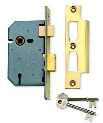 Union Locks 2277 3 Lever Mortice Sash Lock 65mm - Polished Brass (Visi Pack)