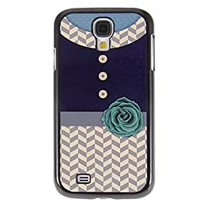 Mini - Shirt with Flower Pattern Mirror Smooth Back Hard Case with HD Screen Film 3 Pcs for Samsung Galaxy S4 I9500