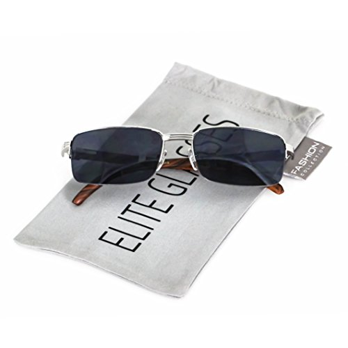 Elite WOOD Art Nouveau VINTAGE Semi Rimless Style Gangster RICH Frame Sun Glasses (Silver Black, - Buffs Glasses