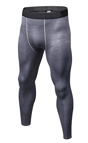Yuerlian Sports Tight Long Pants Under Leggings Baselayers Compression Dry Fit Sports Tights Grey Tag XL/US - Football Solid Pant Game