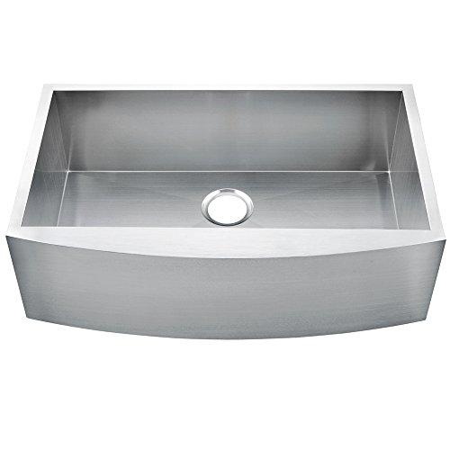Comllen 33 Inch Farmhouse Kitchen Sink 304 Stainless Steel Single Bowls 16 Gauge 10 Inch Deep Handmade Undermount Kitchen Apron Sink