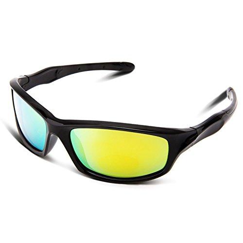 RIVBOS RBK003 Rubber Flexible Kids Polarized Sunglasses Age 3-10 (Black Coating - Best Kids Sunglasses