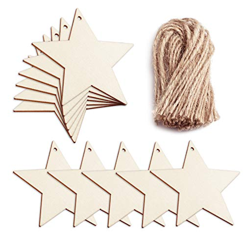 (Favourde 20 Pieces Wooden Christmas Star Shaped Embellishments Hanging Ornaments Decoration with 20 Pieces Twines)