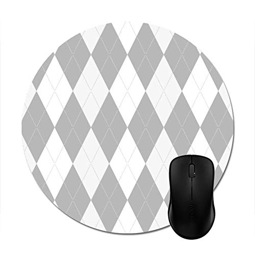(Chrome Grey Argyle Light Gray Small Diamond Shape Mouse Pad 8