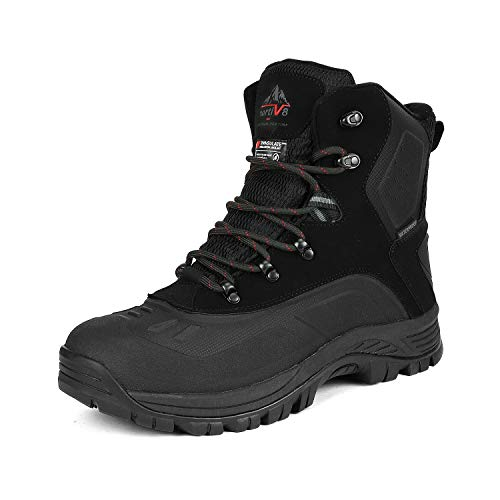 (NORTIV 8 Men's 180411 Black Insulated Waterproof Construction Hiking Winter Snow Boots Size 10.5 M US)