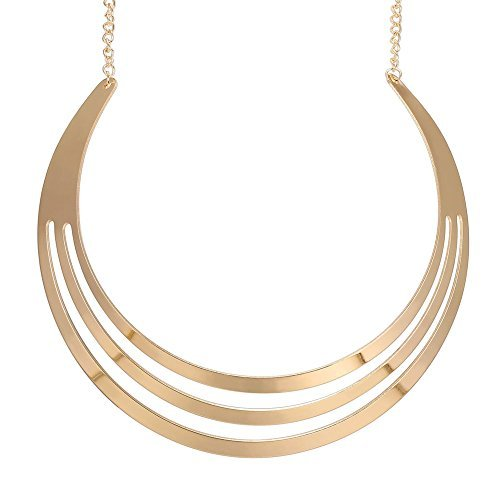 Swhitee Luxury 3 Layers Semicircle Golden Chain Statement Necklace B01HNX7O1E_US