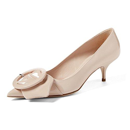 FSJ Women Classic Pointy Toe Pumps Patent Slip On Kitten Low Heel Dress Shoes With Buckle Size 12 Nude