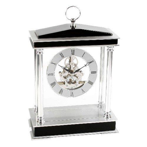 Piano Wood Skeleton Mantel Clock 4 Pillars & Ring Top Anablep W2828