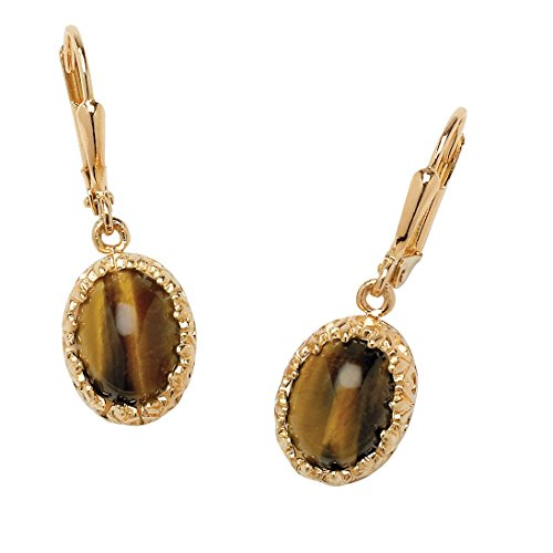 18K Yellow Gold-plated Earrings (12x10mm) Oval Shaped Genuine Brown Tiger's Eye