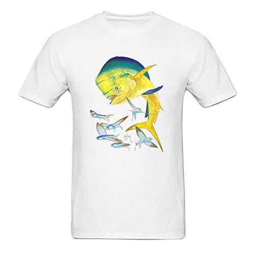 Kimwei Men's Bull Dolphin Printing DIY Tshirt Great Tee for Men L White