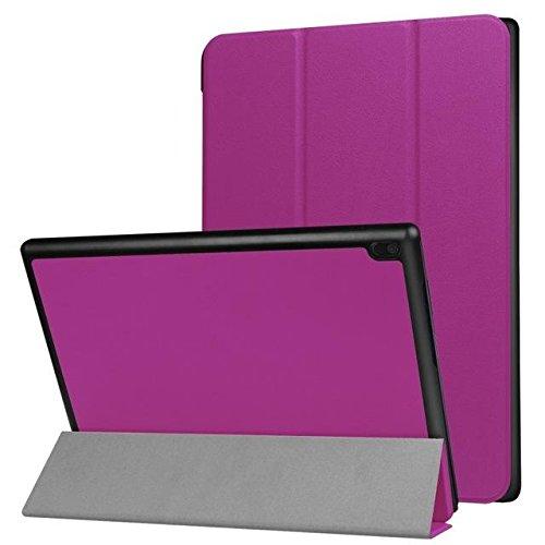 De tres veces la PU del soporte del tirón del cuero caja de la tableta del teléfono de Lenovo Tab 4 10 purple