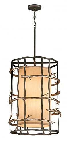 (Troy Lighting Adirondack 18W 6-Light Pendant - Graphite And Silver Leaf Finish with Hardback Linen Shade by Troy)
