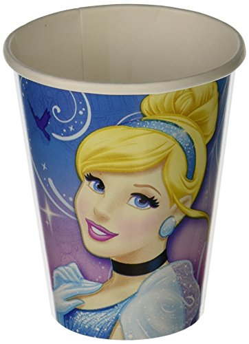Cinderella Printed Paper Cups Disney Princess Birthday Party Drinkware (8 Pack), Blue/Pink, 9 oz.