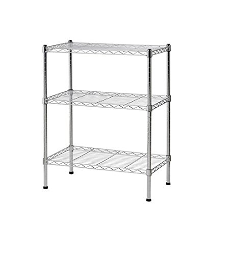 Sandusky WS241430 Heavy Duty Steel Adjustable Wire Shelving, 24'' Width x 30'' Height x 14'' Depth, 3 Shelves, Chrome, 2-PACKS by Sandusky