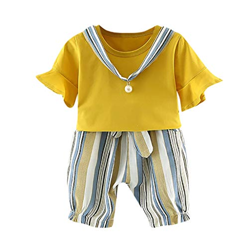 Qpika Toddler Baby Girls Linen Striped Tops+ Pants Trousers Sets Summer New Out of The -