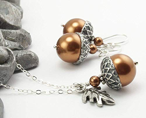 Acorn Jewelry Set with Oak Leaf Necklace Earrings Copper Colored Simulated Pearls by Swarovski 18 inches ()