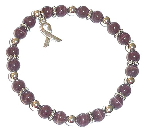 Hidden Hollow Beads Cancer Awareness 6mm Beaded Stretch Bracelet, Adult size, Comes Packaged (Pancreatic Cancer - Dark Purple)