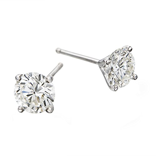 1 CTW Round Brilliant Diamond Stud Earrings in 14K White Gold, Screwback, IGI Certified
