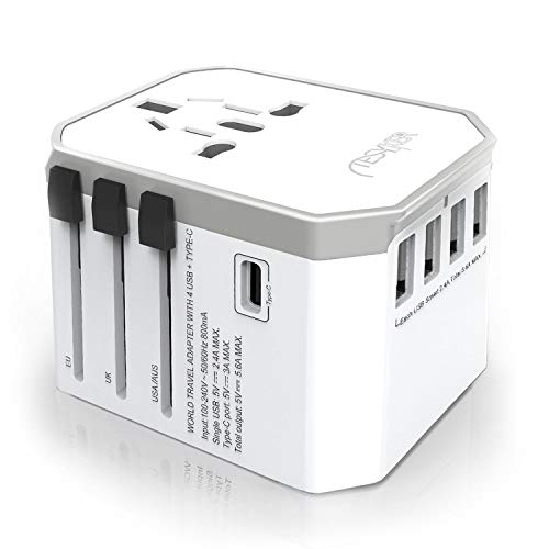 Universal Travel Adapter, Tesyker International Power Adapter Universal Adapter with High Speed 5.6A 4 USB Ports, 3.0A Type C AC Outlet Travel Plug Adapter for US UK EU AUS JPN Laptop Cellphone(White)