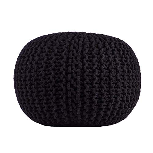 Pouf Ottoman Black Round Hand Knitted Cable Style Cotton Dori ottoman Braided Rope Floor Ottomans Comfortable Seat Footstool Black 16
