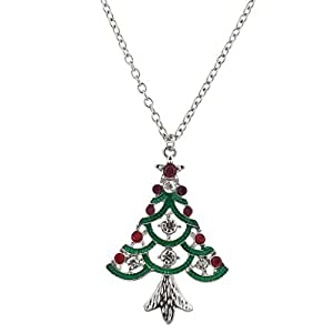 Lux Accessories Festive Holiday Christmas Red Green Crystal Pendant Necklace