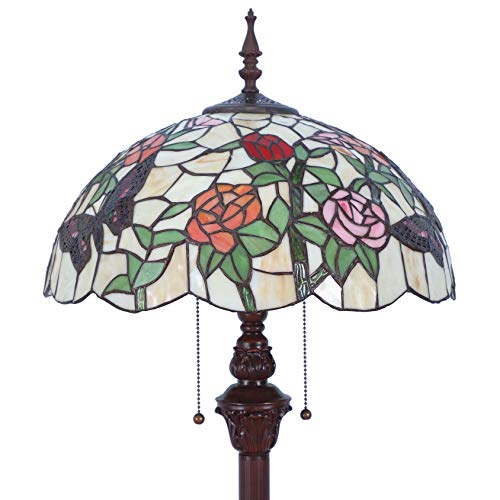 Bieye L11408 Tiffany Style Floor Lamp 2-Light Metal
