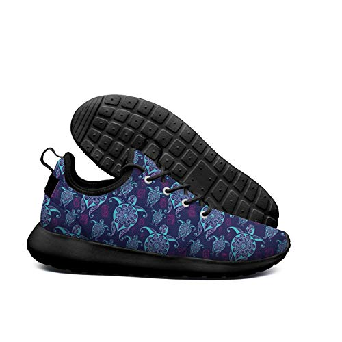 Wedco Hawaiian Turtle Blue Background Mens Guys Black Sneakers for Mens Breathable and Lightweight Comfortable ()