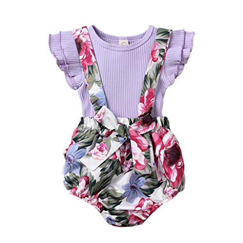 R-ejet Toddler Baby Girl Short Outfits Flying Sleeves Pink Romper Overall Tops+Bib Shorts Cute Set (Style E, 0-6 M)