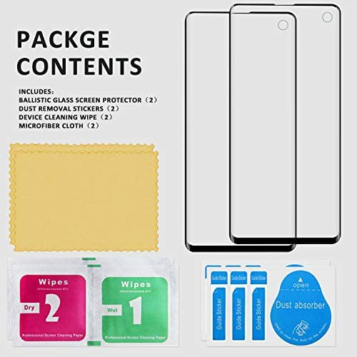 Yersan [2 Pack] for Samsung Galaxy S10 Screen Protector, (Ultrasonic Fingerprint Compatible) (Case Friendly) three-D Curved Full Coverage Anti-Scratch HD Clear Protetive Film for Samsung Galaxy S10