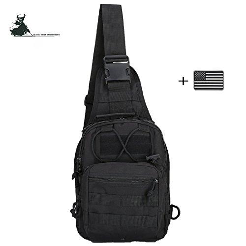 MEWAY Outdoor Tactical Sling Bag,Military Sling Backpack Molle Assault Range Bag Day Pack,Rover Sling Pack Chest Pack(Black)