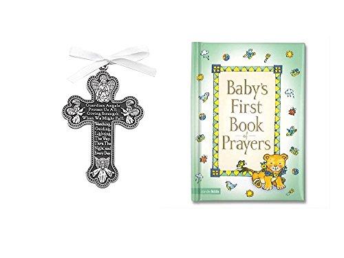 (Baby CRIB CROSS & PRAYER Book - Gift Boy or Girl BAPTISM BOXED Guardian Angel)