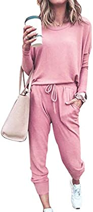 AmzBarley Women's Two Piece Tracksuits Solid Color Long Sleeve Pullover Tops and Long Sweatpants Ladies Casual