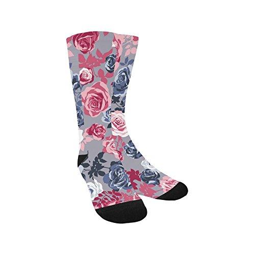 Unique Debora Custom Hosiery Knee-High Socks Leg Warmers for Unisex with Beautiful Artistic Gentle Romantic Roses Flower
