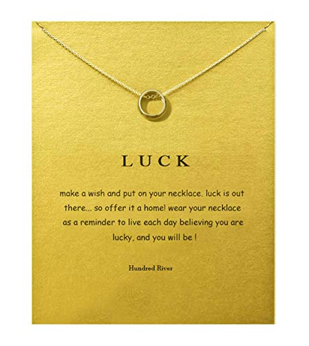 Hundred River Friendship Anchor Compass Necklace Good Luck Elephant Pendant Chain Necklace with Message Card Gift Card (Ring)