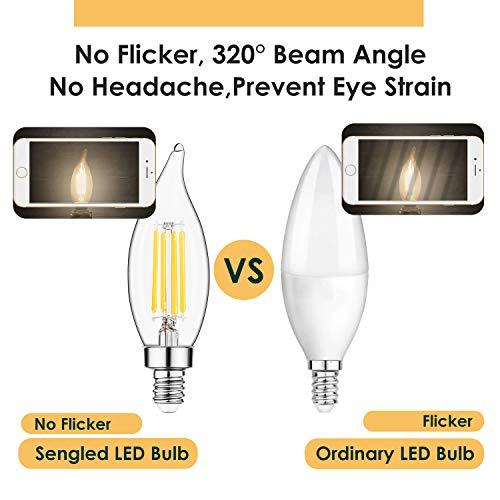 E12 LED Candelabra Bulb 60W Equivalent Dimmable LED Chandelier Light Bulbs 4.5W 2700K Soft White 550LM B10 Flame Tip Vintage LED Filament Candle Bulb with Decorative Candelabra Base, 12 Packs