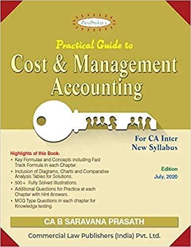 Padhuka's Students' Handbook on Cost and Management Accounting for CA Inter New Syllabus – 4/e, july 2020