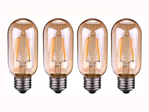 JKLcom T45 LED Vintage Edison Bulbs T45 2W LED Filament Bulb T14/T45 LED Tubular Light Bulb for Home Decorative Lighting,Dimmable,2300K,2W (20W Equivalent),E26/E27 Medium Base,Amber Glass,Pack of 4