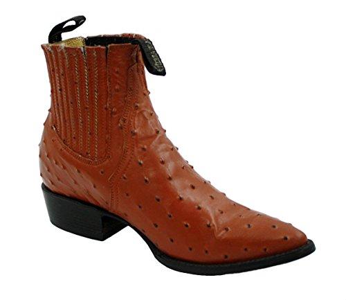 Men genuine ostrich print short ankle western j toe boots Cognac (12 Ostrich)