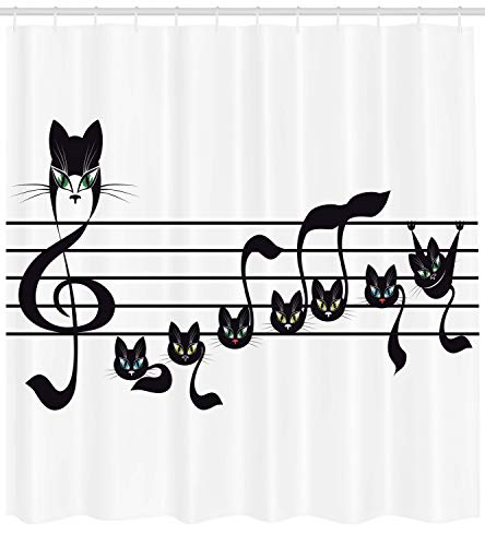 Ambesonne Music Decor Collection, Notes Kittens Cat Artwork Notation Tune Children Halloween Style Pattern, Polyester Fabric Bathroom Shower Curtain, 75 Inches Long, Black Green Blue -