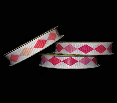 9 Yards Pink Peach Coral Shades Diamond Jester Grosgrain Ribbon 5/8