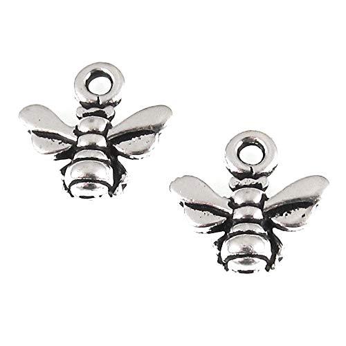 Silver Small Honey Bee Charm, TierraCast Lead Free Pewter (4 Pieces) - Lead Free Pewter Charm