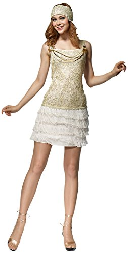 [HGM Costume Women's Golden Flapper, White/Gold, Large] (Hgm Costume)