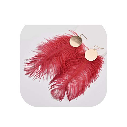 Fall Winter Designer Inspired Genuine Ostrich Big Dyed Feather Disc Plates Drop Earrings For Women,Wine