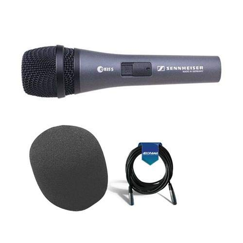 Sennheiser e 835-S Wired Cardioid Handheld Dynamic Microphone with Switch & Clip Bundle With 20' Heavy Duty 7mm Rubber XLR Microphone Cable, On-Stage ASWS58 Foam - Cardioid Dynamic Microphone Wired Handheld