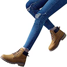 6d2111b10e7b Gyoume Hiking Boots Women Lace Up Boots Shoes Flat Wedge Boots ...
