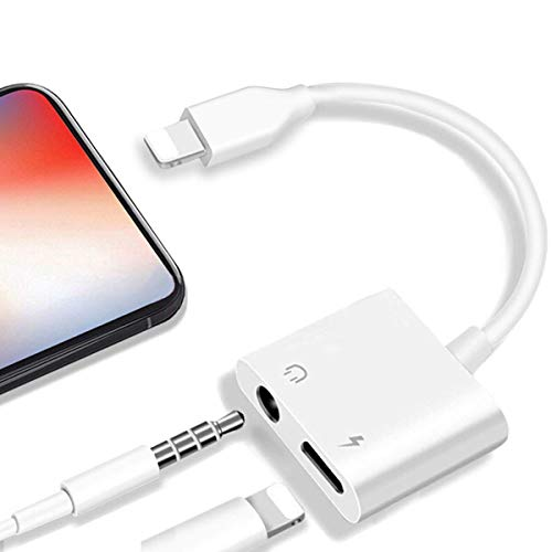 Headphone Adapter Charger for iPhone Adapter 3.5 mm Jack for iPhone 8 /8Plus/7/7 Plus/X/XR/XS max Dongle 2 in 1 Earphone Charger & Audio Connector Jack Splitter Car Stereo Changer Cable Support iOS 12