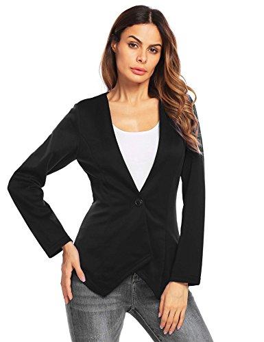 Zeagoo Women's Long Sleeve Solid One Button Open Front Blazer Casual Work Cardigan Jacket