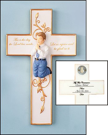First Communion Praying Boy or Girl Figure Wall Cross (Boy) Free First Communion Prayer Card Blessed By His Holiness (Religious Card Album)